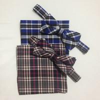 Festival Gift Fashion Pocket Square handkerchief and bow tie Cummerbund Check Pattern Gift Set For Men