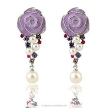 Fashion earrings 2015 in zinc alloy jewelry Rose and pearl earrings