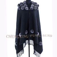 CX-B-P-37E Chinese National Style Rex Rabbit Fur Floral Fashion Pashmina Shawls
