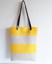 Yellow summer large tote bag, leather handle beach bag, striped tote bag , beach bag with leather trim , beach bag manfuacture
