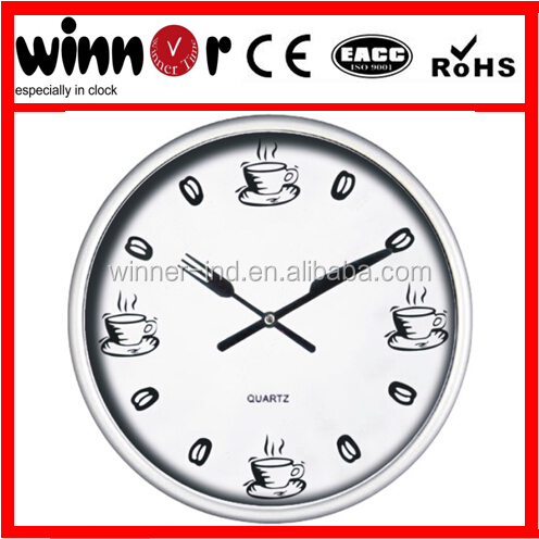 10 inch Plastic kitchen knife and fork coffee round wall clock