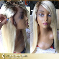 """Brazilian human hair wigs 24"""" ombre color straight lace front wigs with bangs for women from qingdao"""