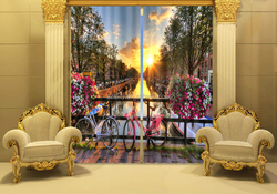 Hot Romantic sunset double bicycle 3D finished curtain with high-grade 100% shading