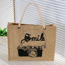 2015 fashion jute tote bag jute shopping bag