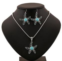 European and American Fashion Turquoise Stones Loose Retro Diamond Star Shape Jewelry Set