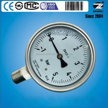 4inch 100mm CE KS CMC ISO approved hvac pressure gauges 5 bar with glycerin oil