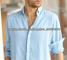 Casual manga larga de algodón y camisa de lino para hombres