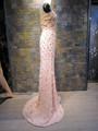 Elegante Strass con cuentas flor Off - hombro Backless hechos a mano gasa vestido de noche
