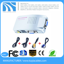 hot selling Computer PC Laptop Mac VGA to TV RCA Composite Converter Adapter S-Video Box New