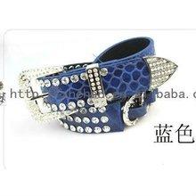 fábrica de venta directa de la costumbre de la pu azul cinturones de diamantes de imitación