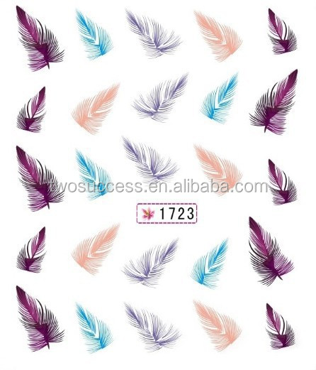 Nail Sticker Feather Watermark UV Gel Nail Polish Sticker Korea Designed Nail Art Decal Sticker