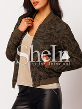 Jackets Tops fashion christmas latest design Brown Collarless Camo Bomber Jacket women