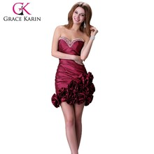 Grace Karin Sexy Ladies Strapless Black And Red Short Mini Cocktail Dresses CL3106-1