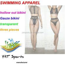 transparent black sexy women swimwear,three piece hollow out bikini,Gauze transparent beach wear