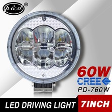 Factory supply 7 inch 60w round cre e led driving lights 12v 24v