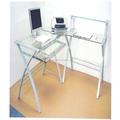Templado mesa de ordenador cristal con tubo de acero