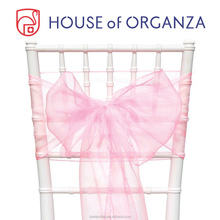2015 Beautiful Wedding Pink Organza Chair Sash for Chair Cover