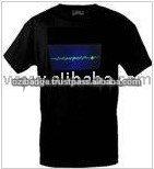Heart Beat Black Color LED EL T-Shirt