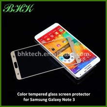 9H hardness transparent color tempered glass screen protector for Samsung Galaxy Note 3,colorful tempered screen membrane