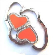 Fashion Wholesale Custom Metal Heart Foldable Bag Hanger