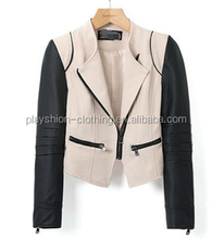 Women Fashion colours spell leather zipper jacket long sleeve cultivate one's morality short coat