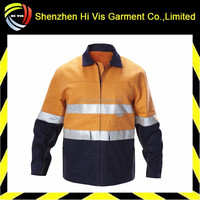 durable hi-visibility men two tone cotton drill work jacket with 3m tape