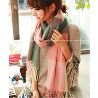 1pc winter warm design women scarf with tassel classic plaid pattern stitching knit scarf winter 2015