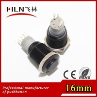 Wholesales 50pcs/box Black body High flat actuator 12v illuminated push button switch with led