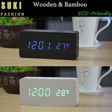 Controlled Alarm Clock LED Display Wooden Desk Table