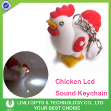 Funny Plastic Kids Gifts Led Chicken Keychain For Children's Day