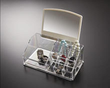 transparent plastic cosmetic display case with mirror