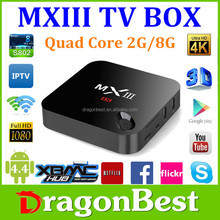 Amlogic S802 Quad core android 4.4 tv box mxiii support bluetooth 4.0, 4K*2K, XBMC, 2G+8G smart android 4.4 mx3 payment accept