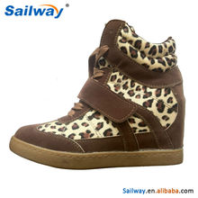 Cheap wedge shoes, fashion womens PU wedge sneaker leopard upper tan color