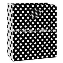 Hot Selling Medium Yellow/Red/Black Dot Paper Gift Bag With Mini Hang Tag