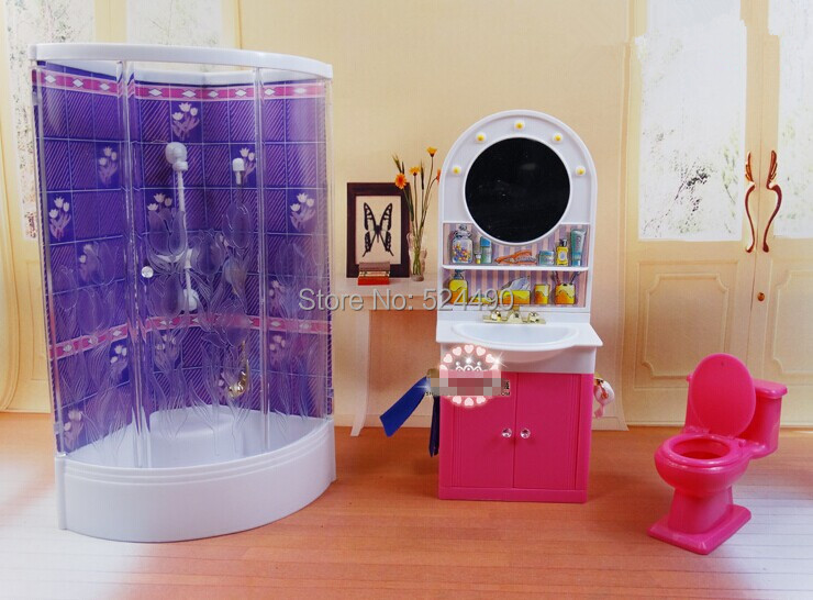 Purple Lavatory Washroom / hand washing sink / Closestool Units Dollhouse Furnishings Equipment for Barbie Kurhn Kelly Ken Doll