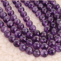 8mm natural round smooth brazil amethyst beads for fine jewelry design
