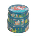 Rodada da lata do bolinho pode/cookie tin box/recipiente de lata para biscoitos