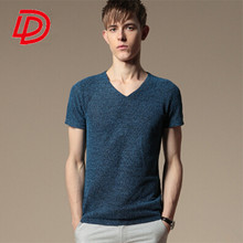 2015 new fashion men's cotton and linen knitting short sleeve T-shirt in summer