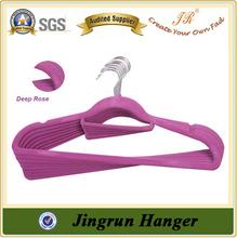 China Supplier Stylish Design Plastic Flocked Hanger for Dress