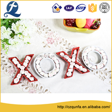 Restaurant use letters shape design ceramic sample tray