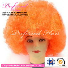 2014 Brazil World Cup Football Fans Synthetic Lace Front Wigs Orange Charming Color 8'' Curly Style Cheapest Prices
