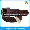 Beyond 35mm Wide Unisex Coffee Crocodile Embossed 100% Genuine Leather Belt with Brass Pin Buckle