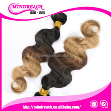 Factory direct china wholesale cheap body wave colored two tone hair weave, brazilian human hair wave