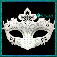 PVC-053 Yiwu Caddy 2015 New style venice customed rhinestone cut half face masquerade masks for dance, party mask