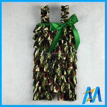 Wholesale Baby Satin Romper Fashion Camo Rompers For Baby Girls Green Camo Satin Petti Rompers