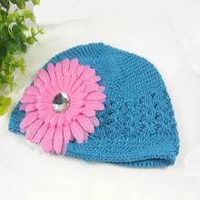 women lady baby girl flower crochet knit kufi hat beanie skull cap