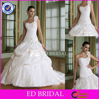 XL0102 2013 Latest Designs One Shoulder Beaded Lace Pick Up Skirt Ball Wedding Gown Sample Pictures