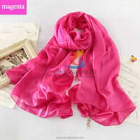 Wholesale by factory directly, Solid color Pashmina scarf made 100% silk, high quality Scarf Shawls