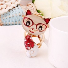 popular Cat rhinestone alloy crystal keychain