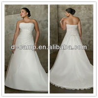 WD-436 Elegant flowing chiffon champagne plus size wedding dresses made to order china